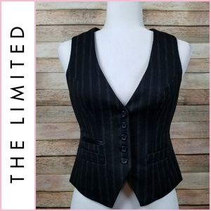 NEW The Limited Black Pinstripe Vest